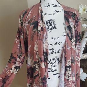 NEW PINKBLUSH floral cardigan womens size 1X mauve